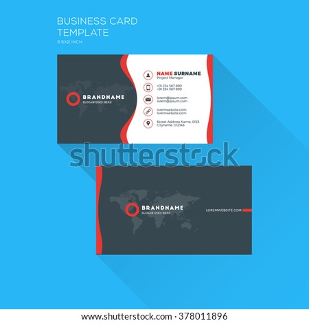 Corporate business card print template personal stock vector corporate business card print template personal visiting card with company logo clean flat design accmission Choice Image