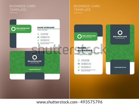 Corporate business card print template personal stock vector corporate business card print template personal visiting card with company logo vertical and horizontal reheart Choice Image