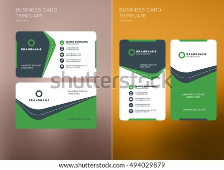 Corporate business card print template personal stock vector corporate business card print template personal visiting card with company logo vertical and horizontal flashek Image collections