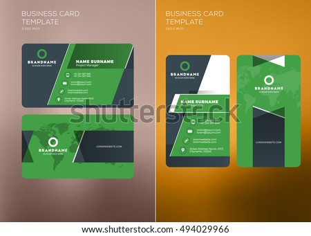 Corporate business card print template personal stock vector corporate business card print template personal visiting card with company logo vertical and horizontal cheaphphosting Gallery