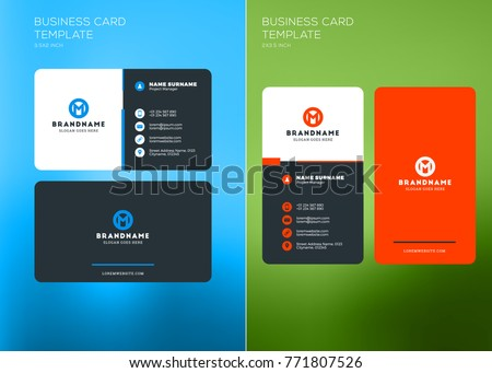 Corporate business card print template vertical stock photo photo corporate business card print template vertical and horizontal business card templates vector illustration wajeb Images