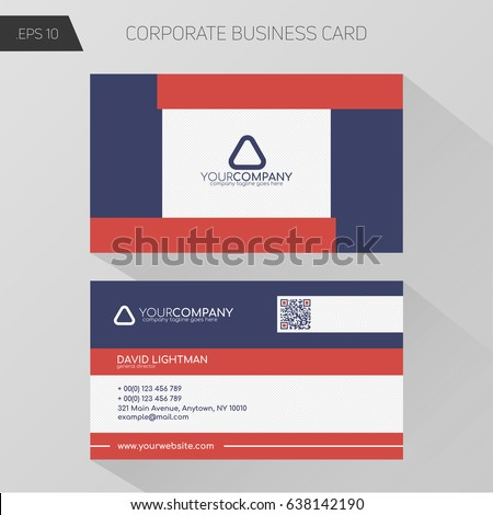 Corporate Business Card Template Basic Palette Stock Vector