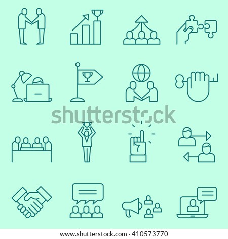 Corporate business management icons, thin line, flat design - stock vector