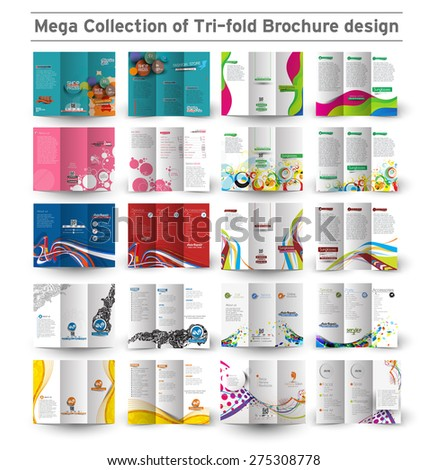 Corporate Business Tri-fold Brochure Design Bundle. - stock vector