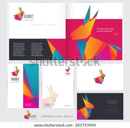 corporate business visual identity stationery set template mockups with multicolored polygonal rabbit logo element. Open brochure, letterhead and business card design - stock vector