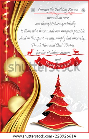 Corporate Christmas and New Year greeting card for print. Contains a thank you message from company to its stuff and clients, a red Christmas tree, Christmas balls. Custom size for a print card. - stock vector