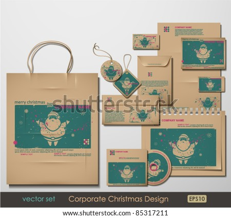 Corporate Christmas Design. Santa Clause theme. Two colors different material for printing  the old fashioned way, but trendy. Print on blank brown paper. Vector Illustration. - stock vector