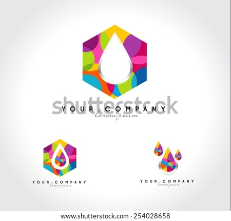 Corporate Colorful logo design. Water drop abstract logo. Colorful water drops icons. - stock vector