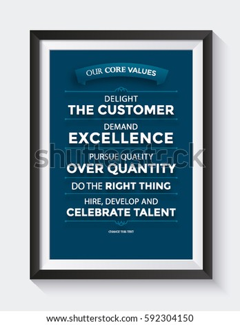 Corporate Core Values Framed Poster Stock Vector 592304150 ...
