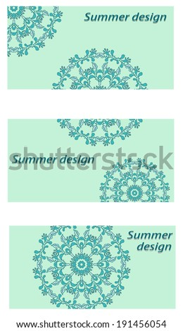 Corporate euro envelope for presentation. Vector illustration for spring design. Round mandala element, ornamental background.Clipping mask. - stock vector