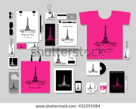Corporate flat mock-up template, Paris city design. Vector illustration - stock vector