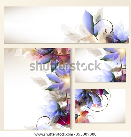 Corporate floral identity templates with abstract foliage in blue and pink colors for design - stock vector
