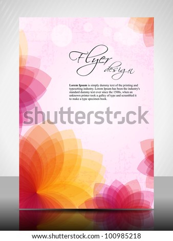 Corporate flyer, poster or cover design with colorful floral design in bright colors and space for your text. EPS10, Vector Illustration. - stock vector