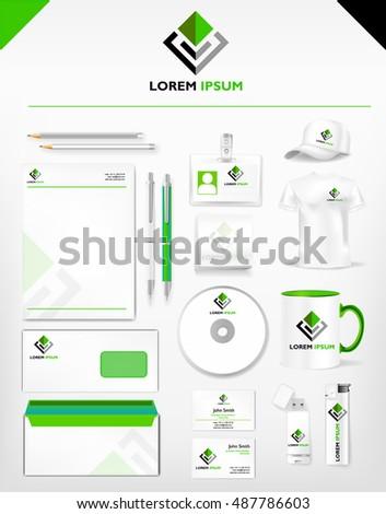 Corporate green dark identity professional template stock vector corporate green and dark identity professional template realistic cup business card letterhead reheart Images