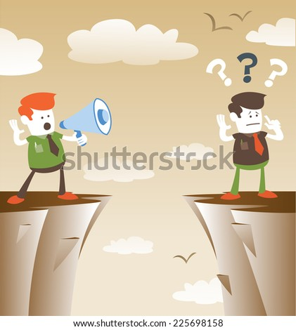 Corporate Guys communicating from distance. Retro styled Corporate Guy standing on the cliffs shouting through a loudspeaker megaphone to his colleague who is trying to hear him.  - stock vector