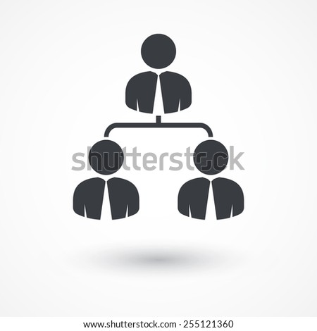 Corporate hierarchy, business network. Flat style design icon - stock vector