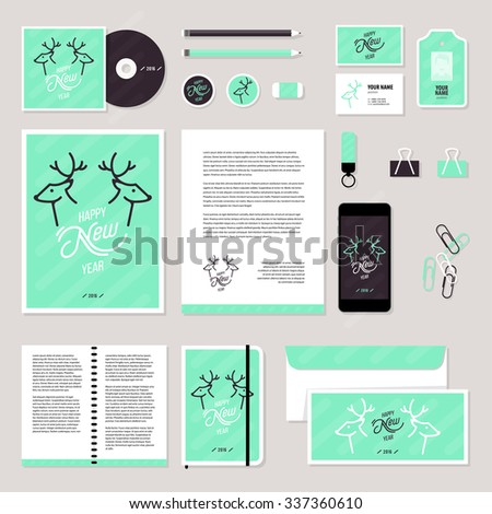 Corporate identity business set design. Vector stationery template design with christmass deer and calligraphy elements. Documentation for business.
