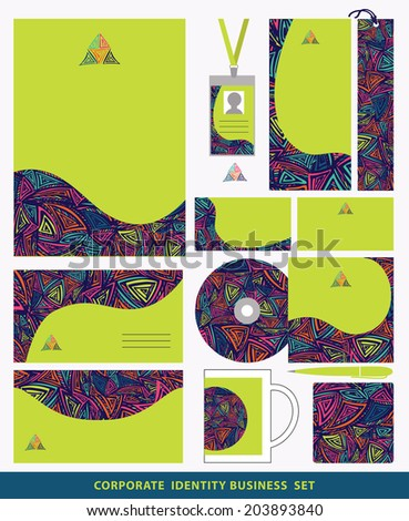Corporate identity business set design with abstract triangles pattern.Company style for brandbook and guideline.Ethnic pattern. Vector bright  graphics pattern.  - stock vector