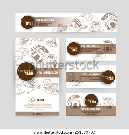 Corporate identity business set design with coffee and sweets. Abstract background. Vector illustration.Hand drawn illustration. Sketch. - stock vector