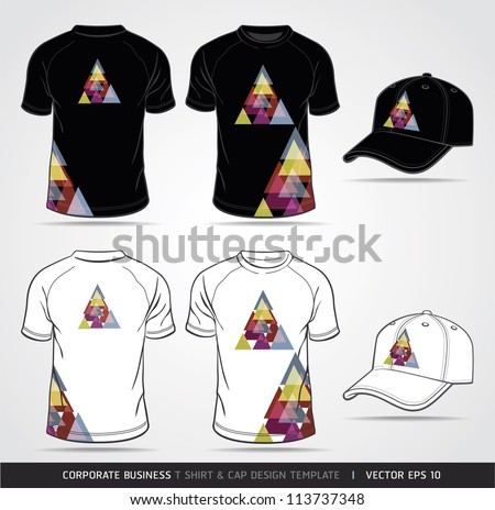 Corporate Identity Business Set. T-shirt and cap Design Template. Vector illustration. - stock vector