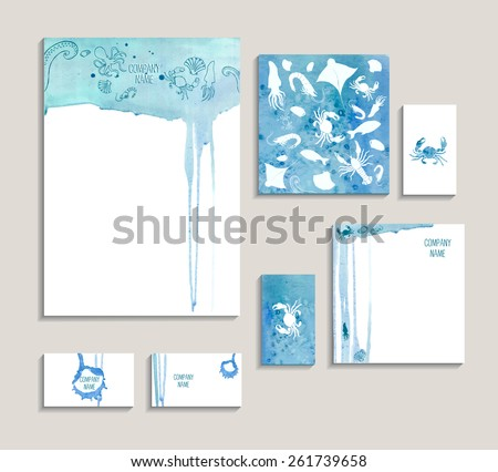Corporate identity business set with seafood. Template for branding identity, business ?ard, invitations, restaurant brochure, restaurant menu with seafood on watercolor background. - stock vector