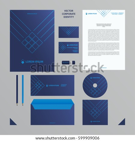 Corporate identity business template. Blue branding set.