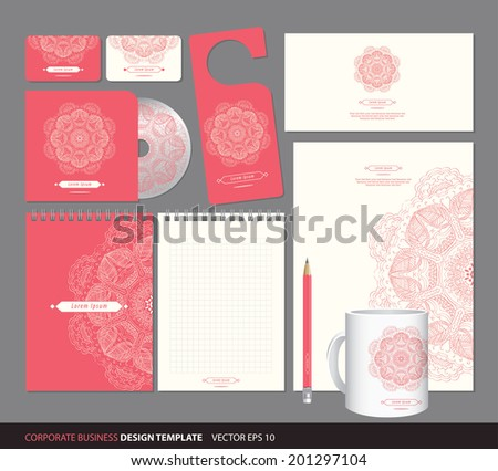 corporate identity design, business, set with pattern - stock vector