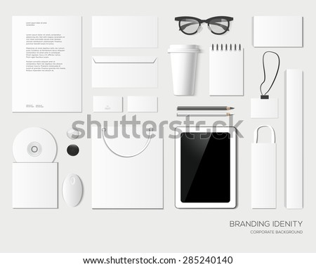 Corporate identity design in light color. Business stationery, mock-up. Forms, pencils, disk, packages, box, paper bag, card, tablet, envelope, icon, badge, coffee cup, notepad, mouse, glasses. - stock vector