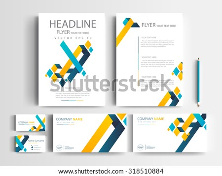 Corporate identity design set templates / modern flyers brochure / annual report /name card /letterhead/ stationery with white background in size a4 - stock vector