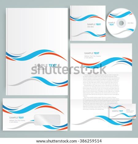 Corporate identity design template curves - stock vector