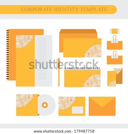 Corporate identity design template with floral pattern. Brand, visualization, corporate identity business set. Vector illustration
