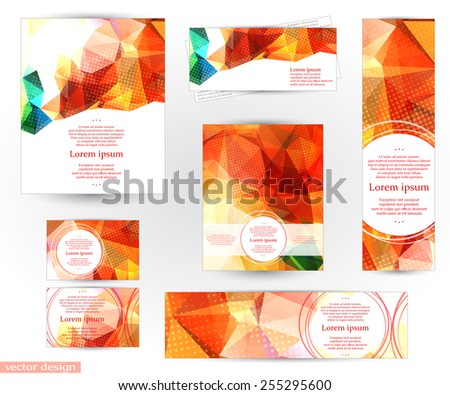 Corporate identity design templates with abstract geometric background with shining red, yellow and green transparent triangles. Fully editable, you can transform and place the pattern as you like. - stock vector