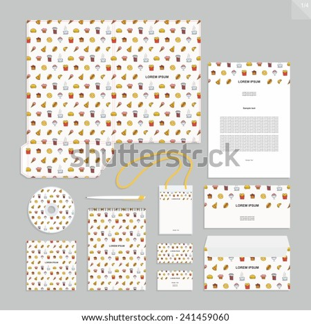Corporate identity design vector - Stationery set design - fast food. - stock vector