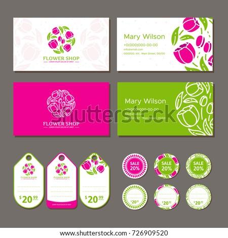 Corporate identity flower shop logo business stock vector royalty corporate identity for a flower shop logo business card and price tag vector reheart Gallery