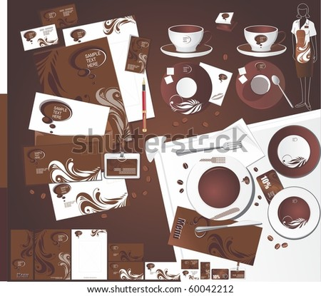 Corporate identity for abstract cafe - stock vector