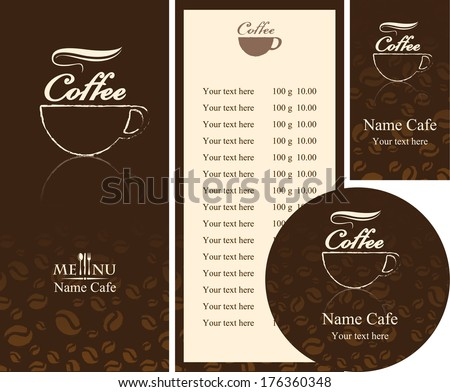 corporate identity for the cafe menu, business cards and coasters - stock vector