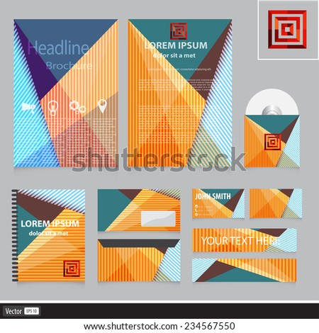 Corporate identity for your company. Abstract business colorful concept. Vector creative idea with geometric shape. - stock vector