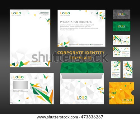 Corporate identity kit in low-poly style. Letter Head design, Presentation template, Envelope, Business Card, CD Cover. Vector company style. Green and orange version