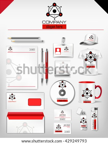 Corporate identity red black template realistic stock vector corporate identity red and black template realistic cup business card letterhead envelope reheart Choice Image