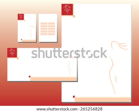 Corporate Identity Set - Woman Body Icon in Red - stock vector