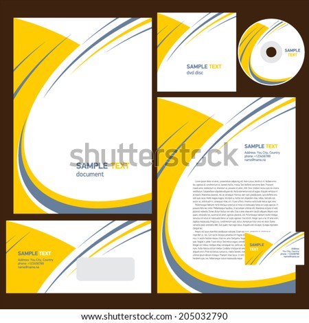 corporate identity template design abstract stripes - stock vector