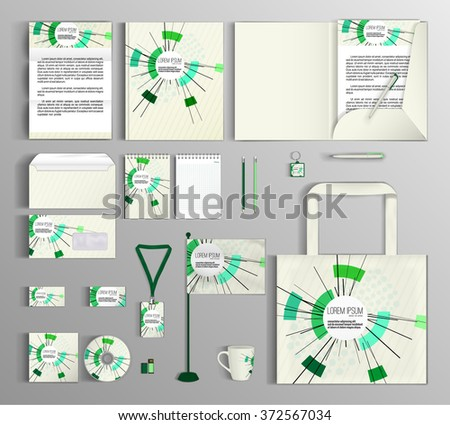 Corporate identity template design with abstract composition, math technology. Business set stationery. - stock vector