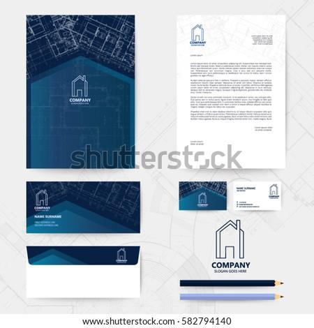 Corporate identity template design blueprint background stock vector corporate identity template design with blueprint background business realestate malvernweather Image collections