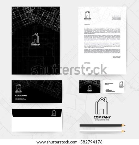Corporate identity template design blueprint background stock vector corporate identity template design with blueprint background business realestate malvernweather Choice Image