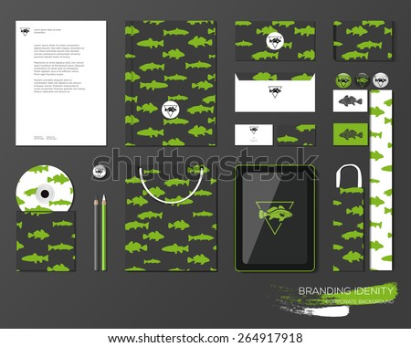 Corporate identity template design with fishing pattern. Business stationery, mock-up for fishing shop, restaurants. Forms, pencils, eraser, disk, packages, box, card, laptop, display, device.