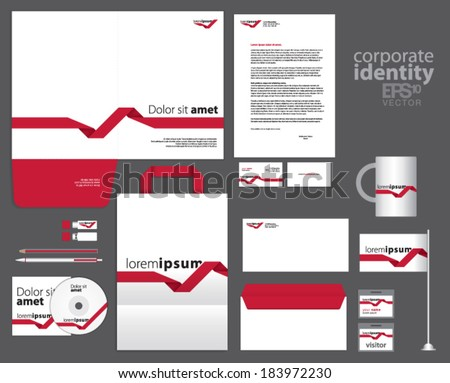Corporate identity template design with red lines. Simple vector company style letter business card envelope brochure and paper bag. - stock vector