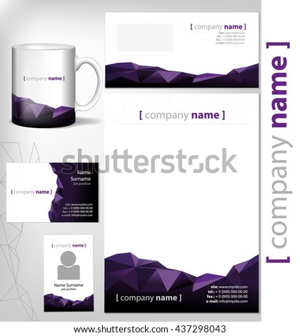 corporate identity template document page, business card, realistic cup, leaflet. Vector illustration paper head abstract rocky dark purple design