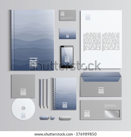 Corporate identity template in blue and grey colors with pattern of waves. Vector company style for brandbook and guideline. Stylish and clear branding. EPS 10 - stock vector