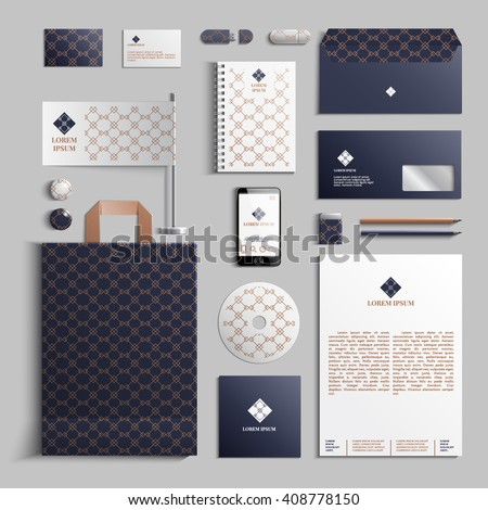 Corporate identity template in dark blue and beige colors with geometric pattern. Vector company style for brand book and guideline. EPS 10 - stock vector