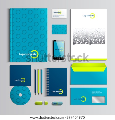 Corporate identity template in green and blue colors with pattern of circle. Vector company style for brandbook and guideline. Stylish and clear branding. EPS 10  - stock vector